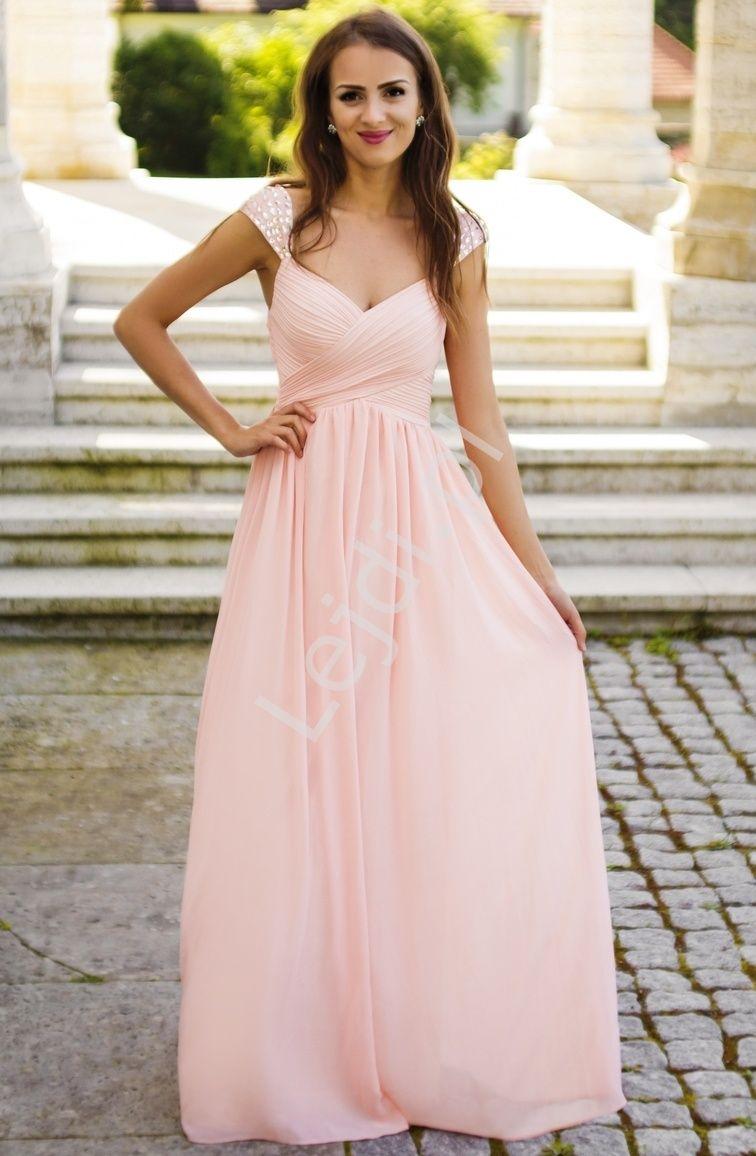 40bb7c5da3 Długa suknia z plisowaniem na biuście i kryształkami na ramionach ...