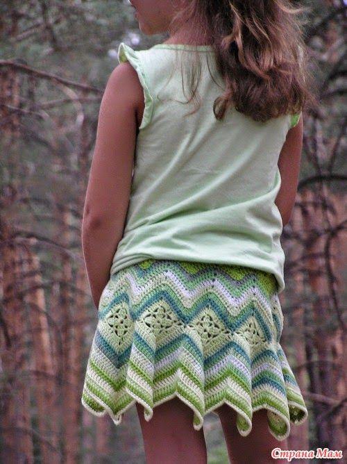 Patron de falda de niña punto zig zag ganchillo | Crochet y Dos ...