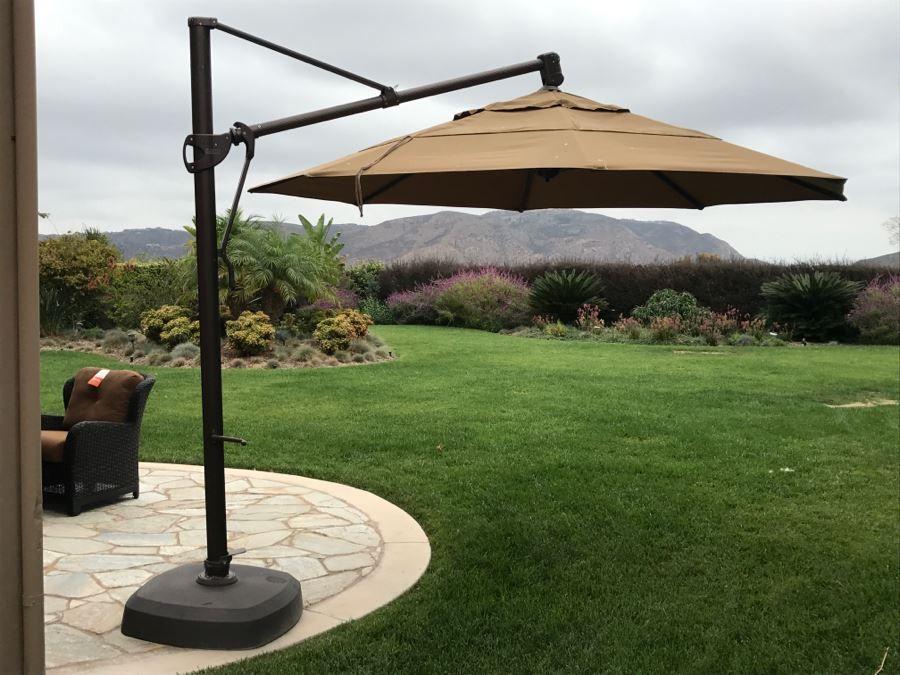 Treasure Garden Cantilever Aluminum 13 Foot Wide Crank Lift Tilt ...