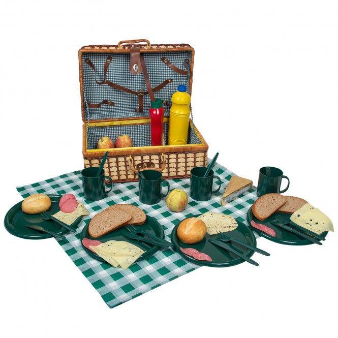 Picknickkorb Bambus Picknick Korb + Geschirr Besteck Picknickdecke - haus garten freizeit