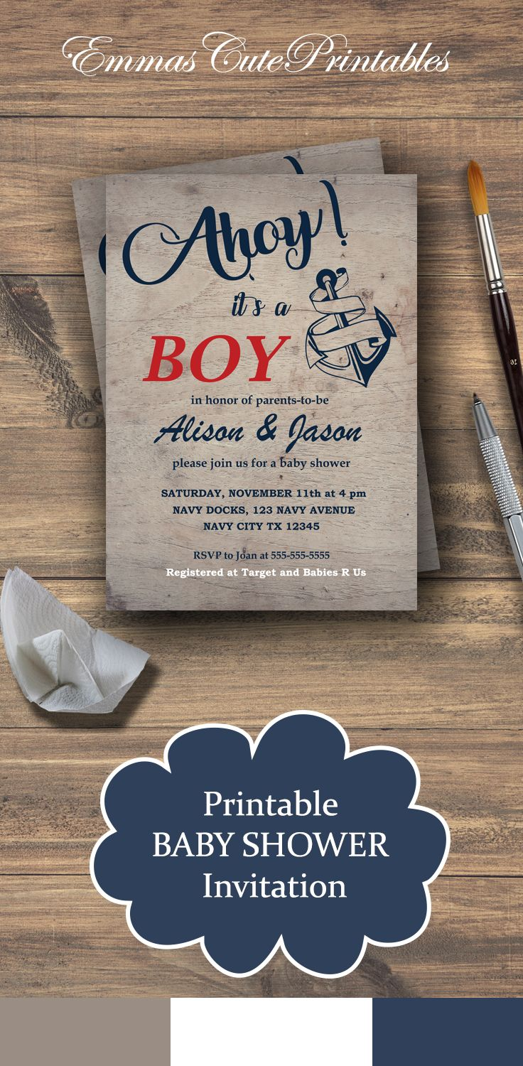 Rustic wood nautical baby boy shower invitation, anchor AHOY its a ...
