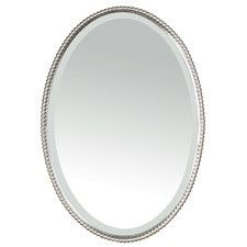 Sherise Beaded Oval Mirror In Brushed Nickel Beaded Mirror Uttermost Mirrors Oval Mirror