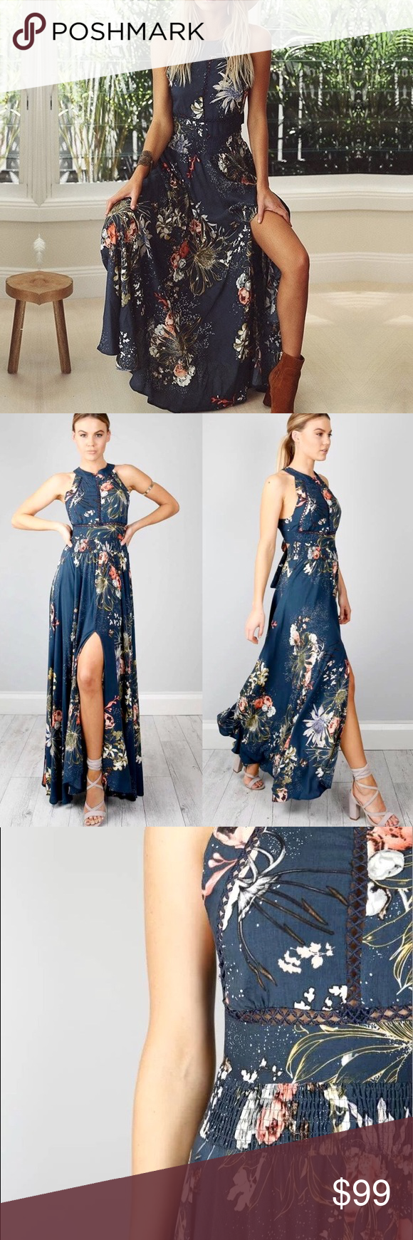 ✨ Open Back Blue Floral Halter Slit Maxi Dress A long aefb2b879