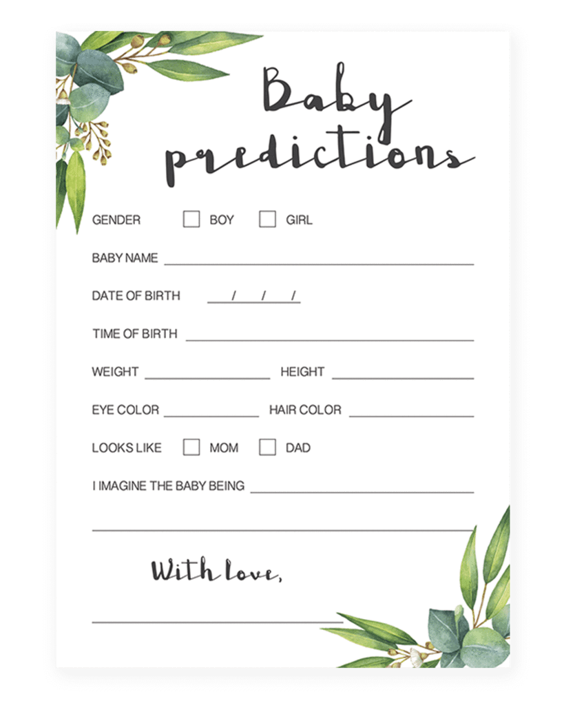 Watercolor Leaves Baby Predictions Game Printable By Littlesizzle Classy Baby Shower Green Baby Shower Baby Prediction
