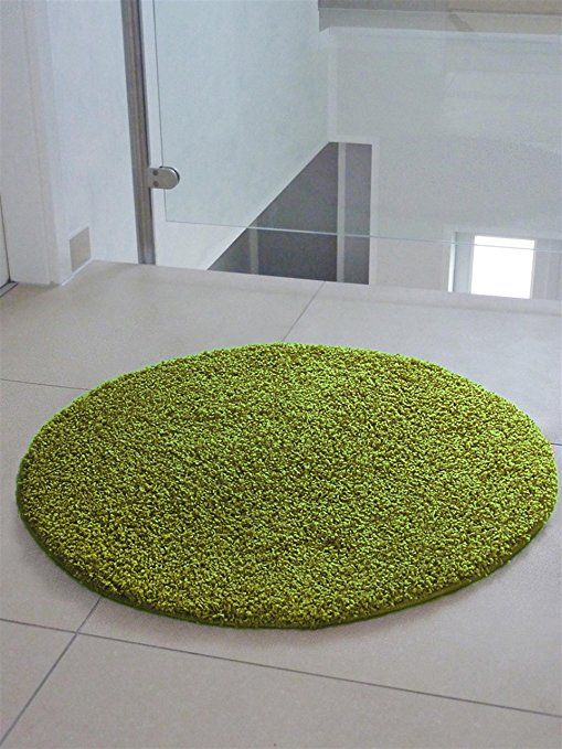benuta Shaggy Swirls Rug Green ø 120 cm round (3ft11\ - wohnzimmer creme grun