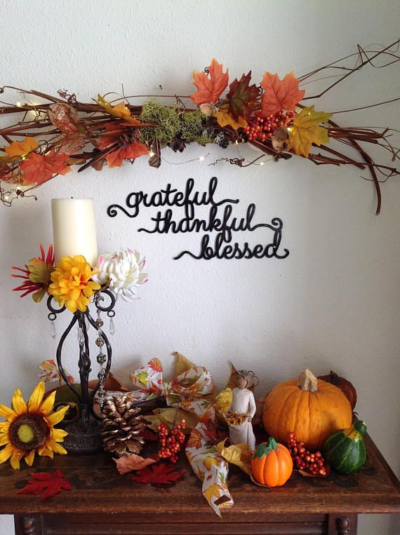 grateful thankful blessed thanksgiving sign wall decor, fall ...