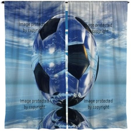 Ballon De Foot Soccer Window Curtains At Visionbedding
