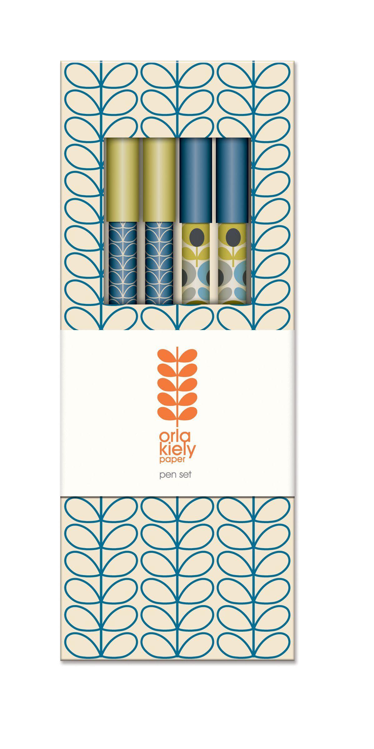 Orla kiely linear stem marine paper pen set box of orla kiely