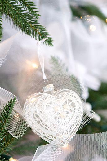 valkoinen kuusen koriste sydän *♡*