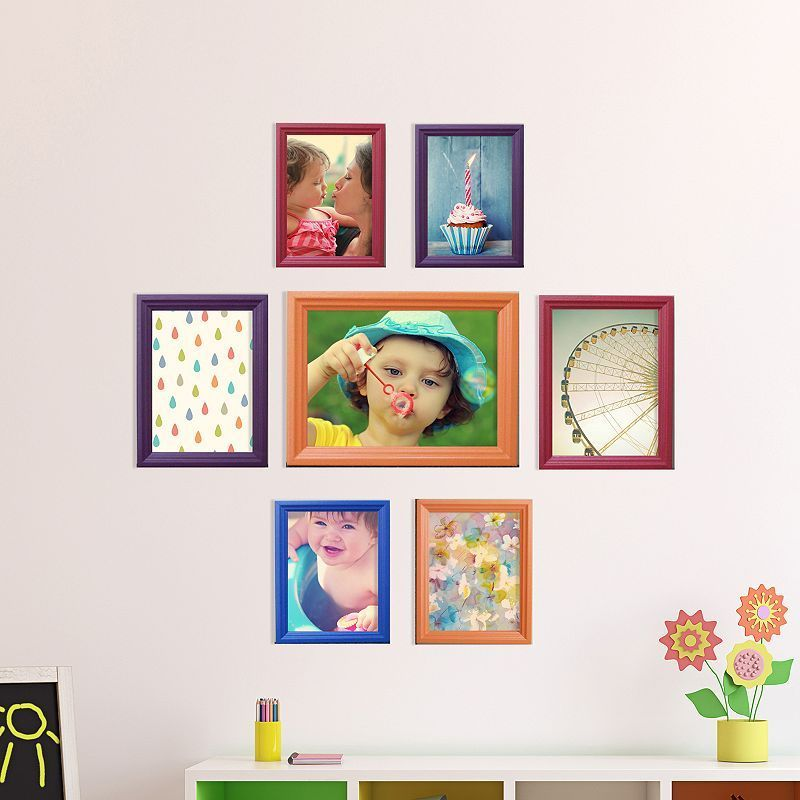 7-piece Color Collage Matted Wood Wall Frame Set, Multicolor