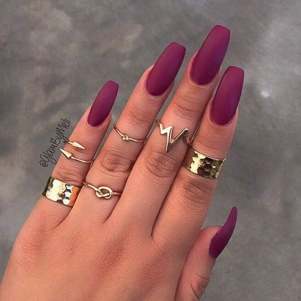 Go for the matte maroon nail art design. Nowadays, matte has become one of  the more popular trends not only because it is easier to apply, but because  of ... - 35 Maroon Nails Designs Pinterest Matte Maroon Nails, Maroon