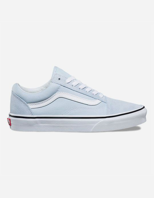 e741e025282c54 VANS Old Skool Baby Blue   True White Womens Shoes