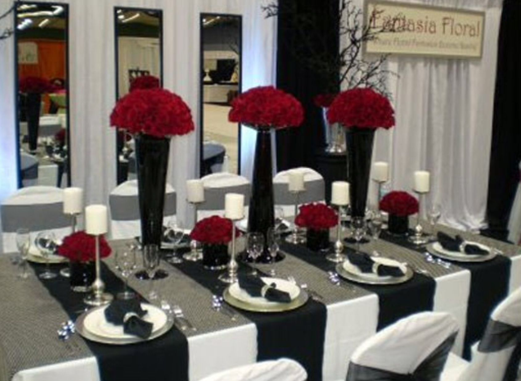 Black White And Red Wedding Table Settings Black White And