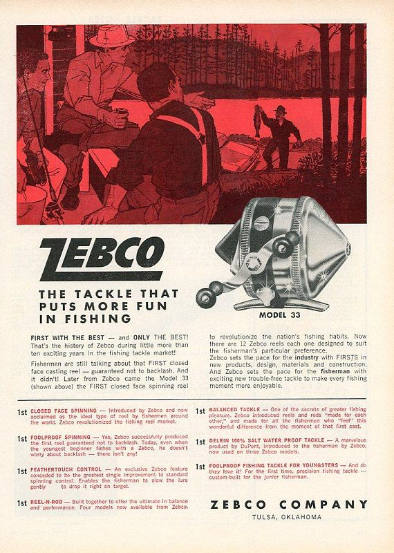Zebco Fishing Chair Scuba Covers Wholesale Vintage 1960 Reel Print Advertisement Sports
