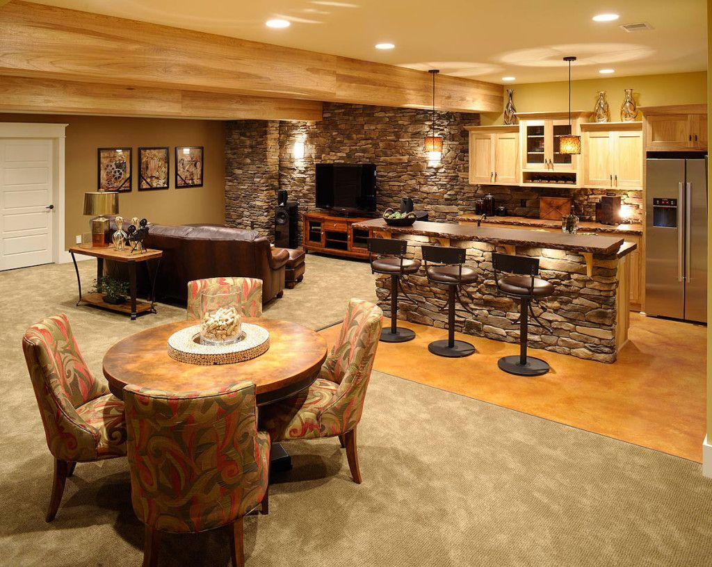 Stone Bar With Lights; Maple Cabs; Full Fridge; Stone Wall.