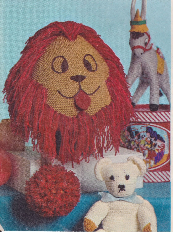 Pdf Stuffed Lion Knitting Pattern Stuffed Animal Toy Vintage