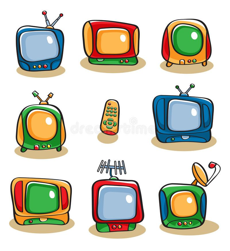 Tv Icon Set Collection Of Eight Colorful Vector Cartoon Style Television Sets A Ad Collection Colorful Vector Tv Icon Tv Icon Retro Tv Icon Set