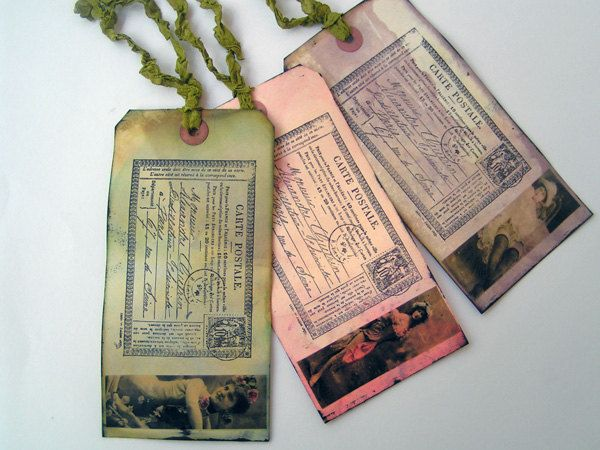 Burlesque Style Tags Mixed Media Vintage Vamps Set of 3. $8.00, via Etsy.