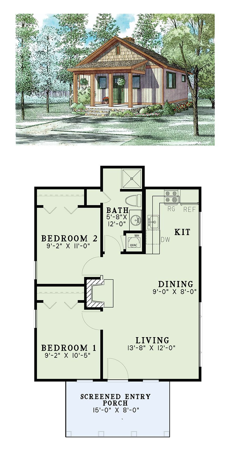 Traditional Style House Plan Number 82343 with 2 Bed 1