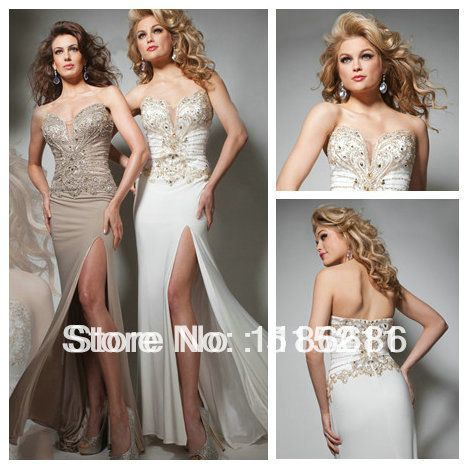 Tony Bowls 2014 Sparkle Beaded Sweetheart Corset Back High Slit White Champagne Chiffon Mermaid Prom Evening Dresses Formal Gown $179.99