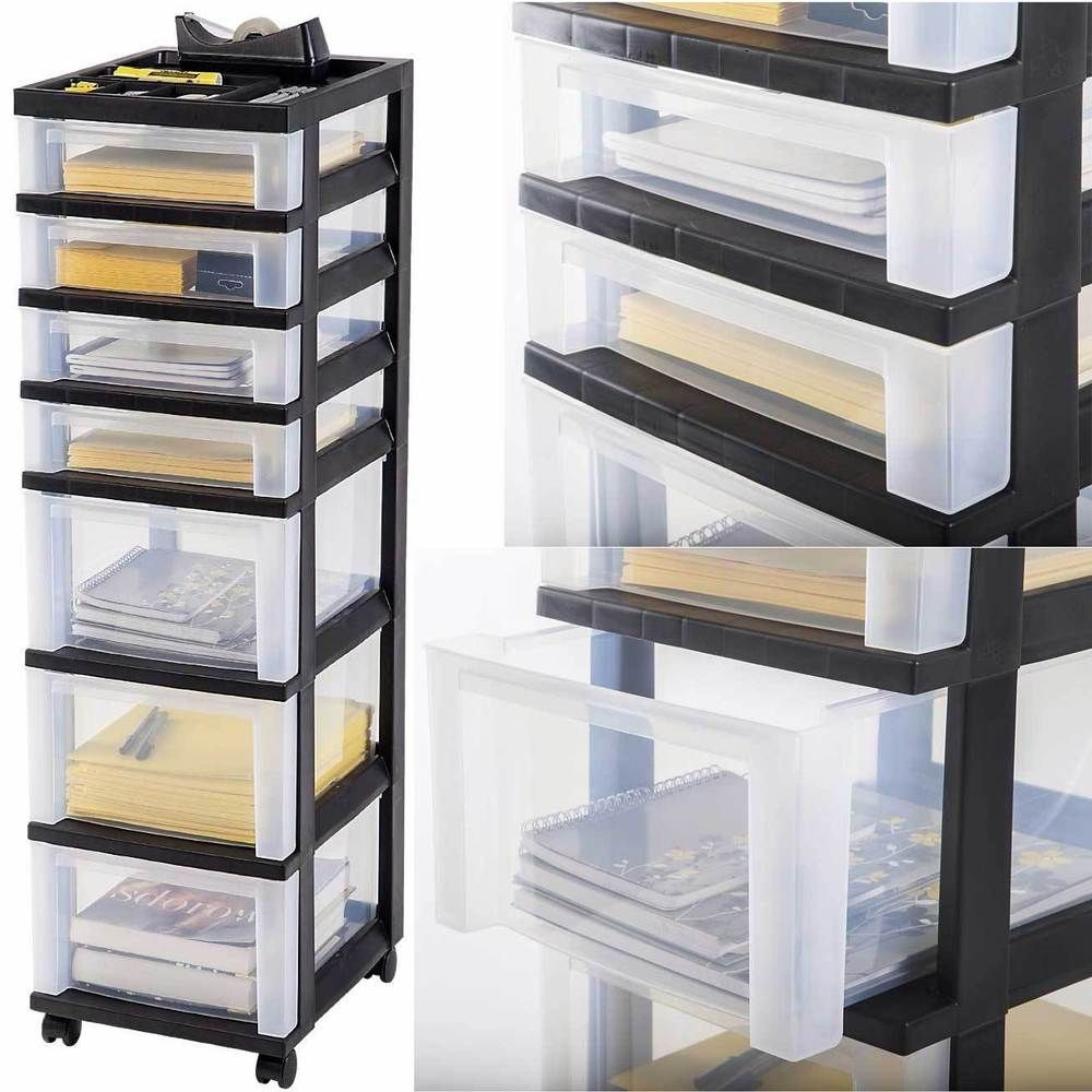 White tilt out clothes storage basket bin bathroom drawer ebay - Plastic Storage Cabinet 7 Drawer Rolling Cart Organizer Container Box Wide Bin Ebay