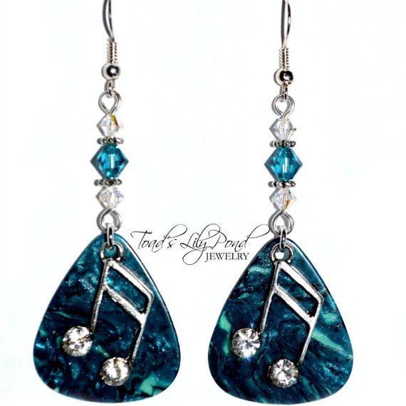 on sale blue guitar pick jewelry guitar by toadslilypondjewelry earrings jewelry guitar. Black Bedroom Furniture Sets. Home Design Ideas