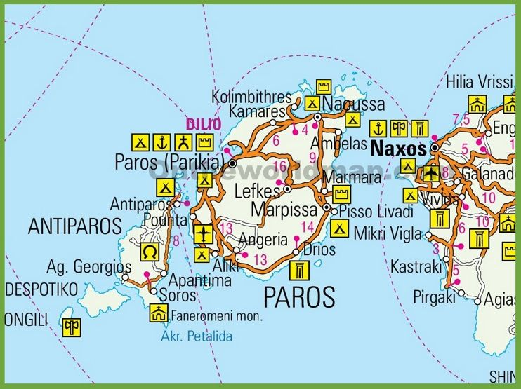 Paros tourist map Maps Pinterest Tourist map Paros and Greece
