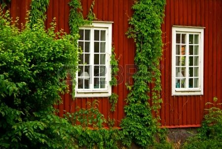 Red wooden house with climbing plants and windows Idée deco maison