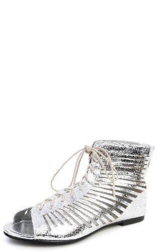 Kylie 10 Gladiator Cut Out Lace Ups Flat Sandals Metallic Silver >>> Tried it! Love it! Click the image. : Lace up sandals