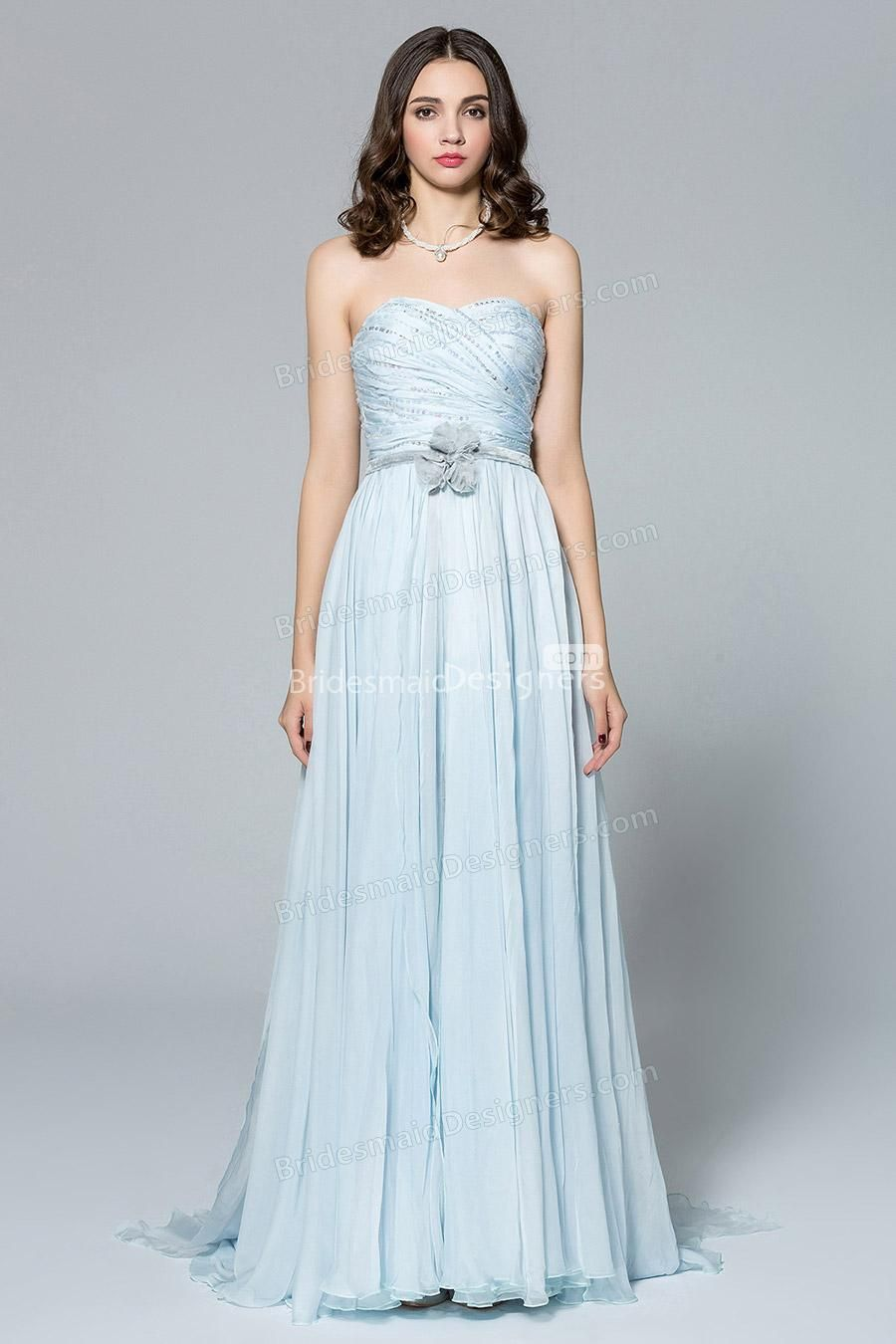 Strapless sweetheart ruched beaded bodice pale blue floor length