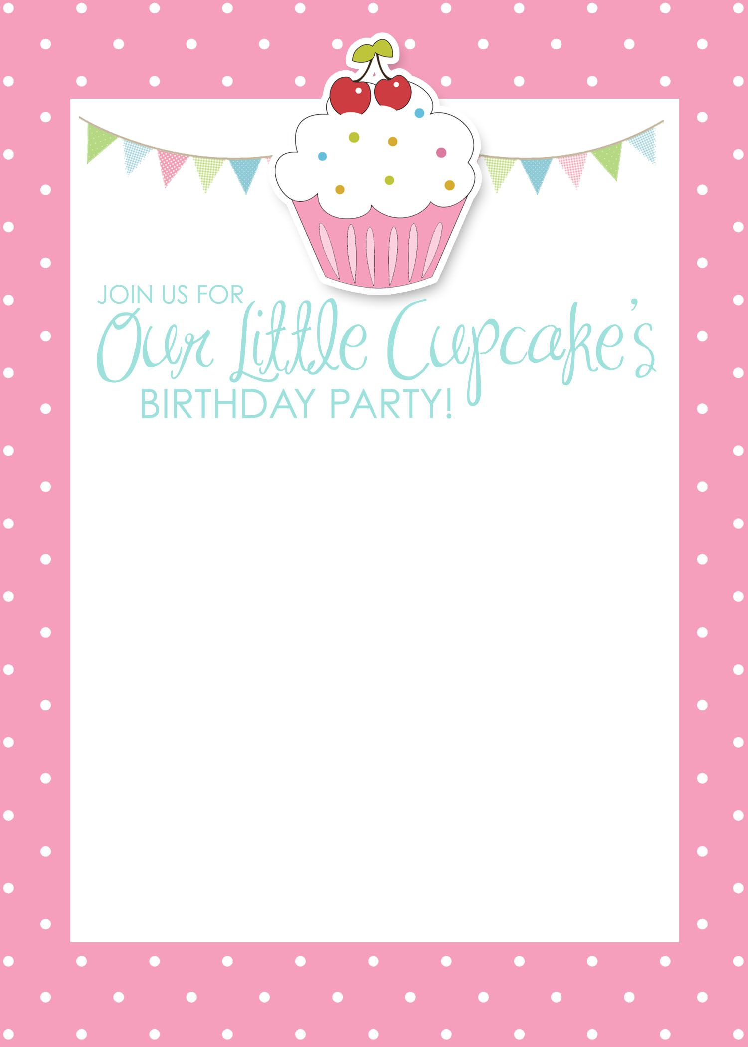 Cupcake Themed Birthday Party with FREE Printables – Free Printable Party Invitations for Kids Birthday Parties
