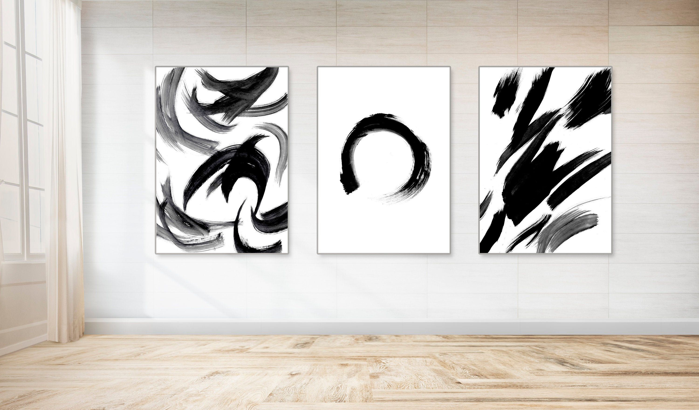 Japanese Painting Brush Stroke Art Enso Wall Art Rustling Leaves Abstract Print Gallery Wall Set Of 3 Zen Wal Zen Wall Art Handmade Etsy Gifts Etsy Art