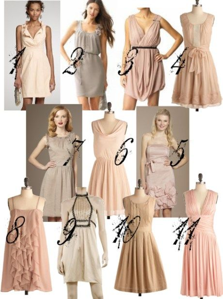 Pale Blush Neutral Bridesmaids Dresses