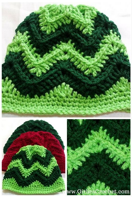 George Chevron Beanie - a free crochet beanie pattern in chevron ...