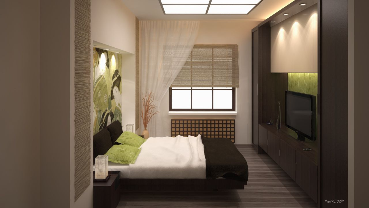 Japanese Lighting Art with Modern Beds Furniture Sets in Modern
