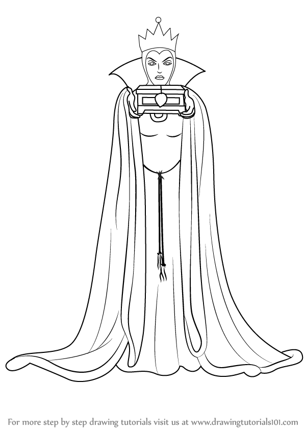 Learn How To Draw The Evil Queen From Snow White And The Seven Dwarfs Snow White And The Seven Dwarfs Step By Evil Queen Disney Coloring Pages Disney Doodles