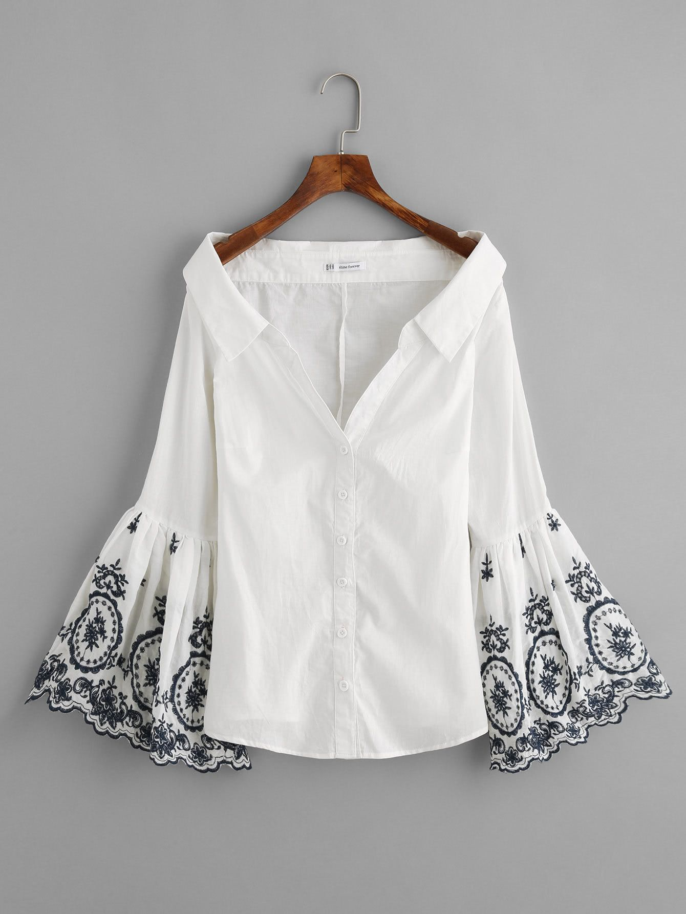 1487ecc89af9 Shop Embroidered Trumpet Sleeve Collared Boat Neck Blouse online. SheIn  offers Embroidered Trumpet Sleeve Collared Boat Neck Blouse & more to fit  your ...