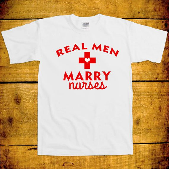 047e498843 Real Men Marry Nurses Joke Doctor Hospital Medical Husband Wife Couple  Family Love Funny Marriage Gift Patient Health T-Shirt Tee Shirt