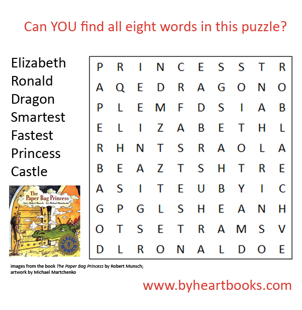 Paper Bag Princess word search | stuff for kids | Pinterest