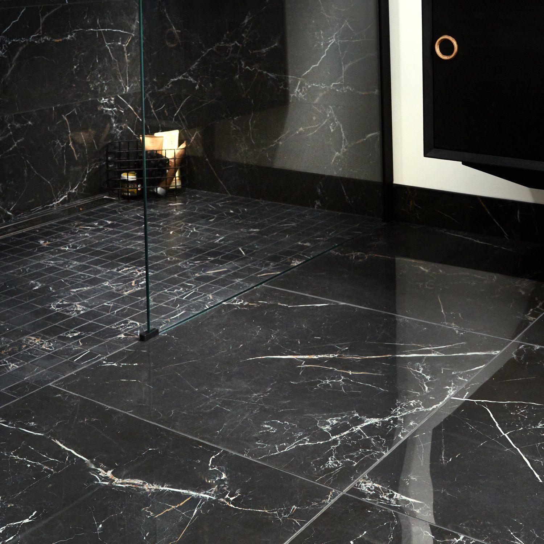 Carrelage Salle De Bain Noir Brillant carrelage chic salle de bain noir gold brillant en 2020