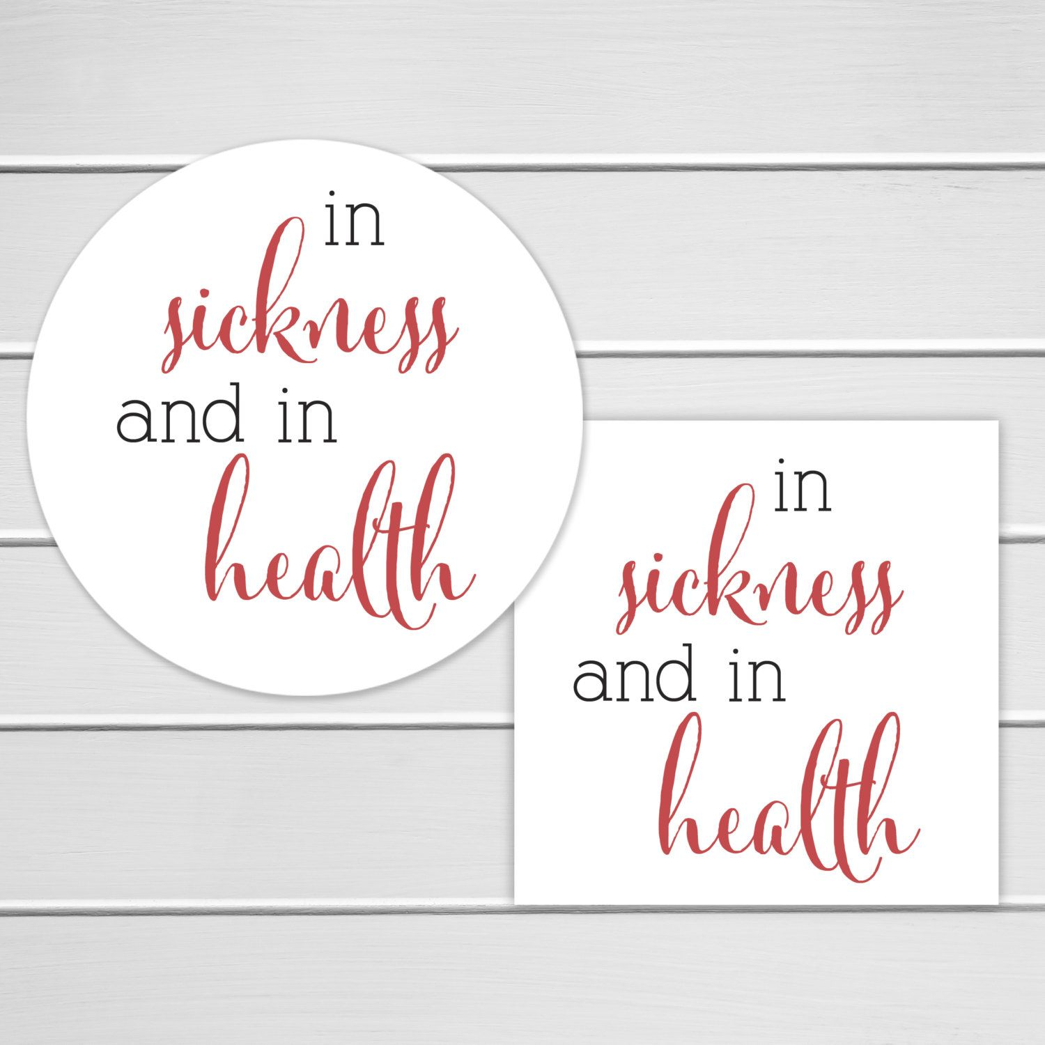 Wedding Favor Labels In Sickness and in Health Stickers | Bridal ...