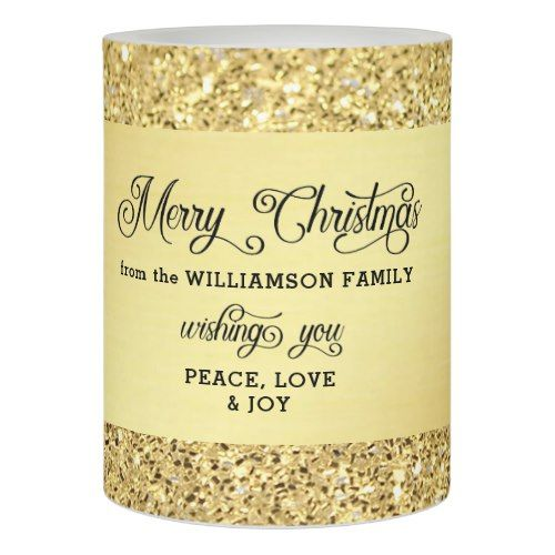 Personalized Gold Glitter Merry Christmas Flameless Candle