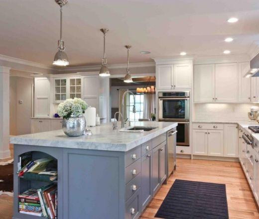 Transitional Island Style Grey kitchen, white cabinets, Kitchen up
