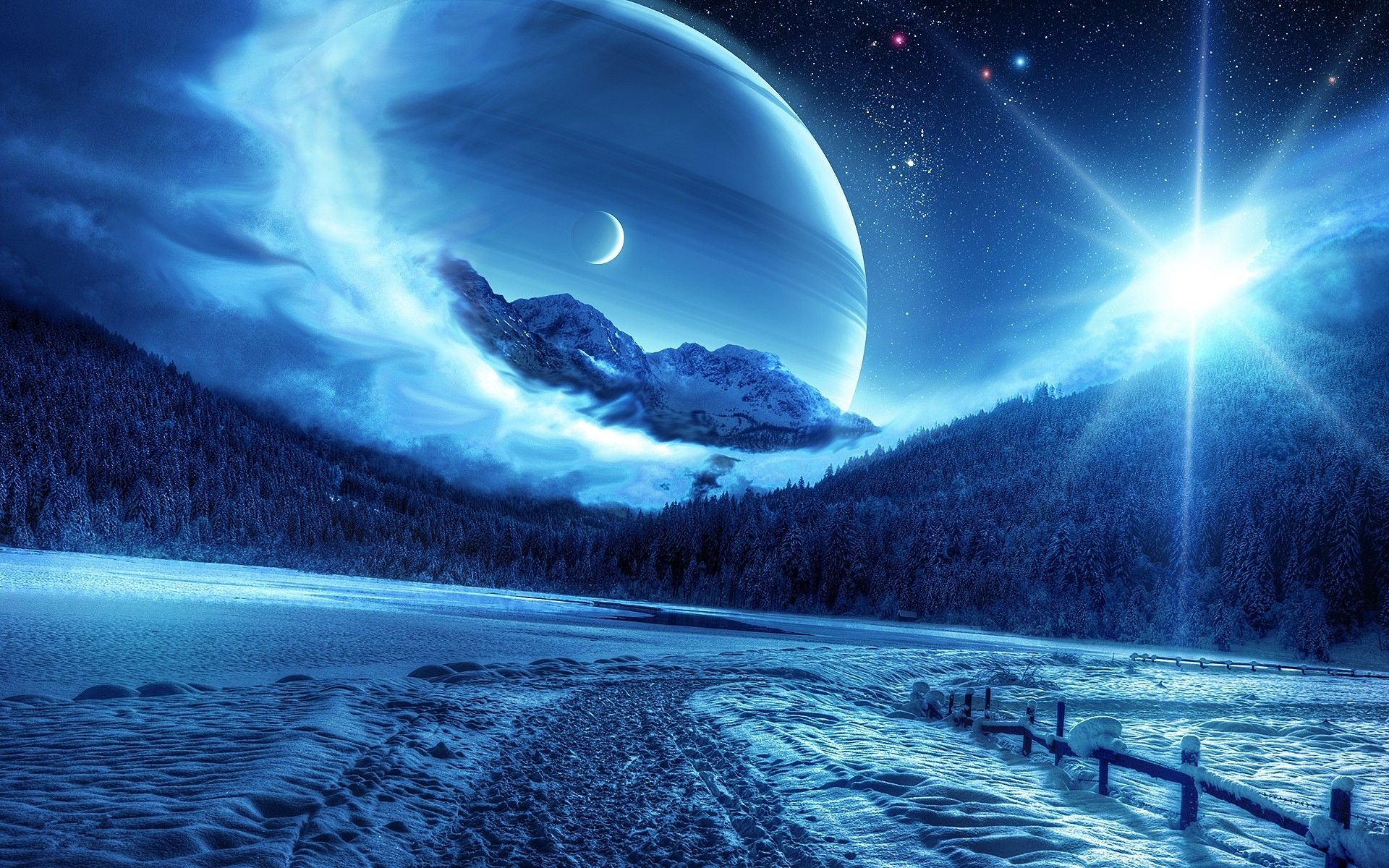 Wallpaper forest the sky the sun space stars clouds