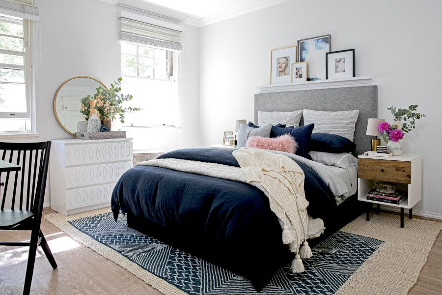 Blush, Blue, and Gray Bedroom Home bedroom, Bedroom styles