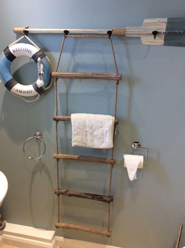 New nautical driftwood rope ladder towel rail 5 rung - Gartenhaus maritim einrichten ...