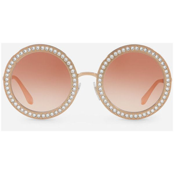 f1f17ccbd84 Dolce   Gabbana Round Metal Sunglasses With Crystal Details ( 465) ❤ liked  on Polyvore