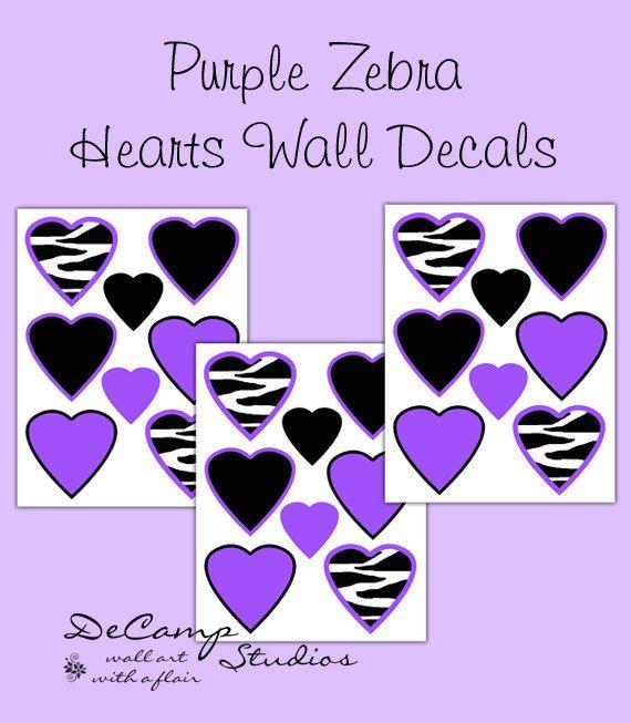 Purple Zebra Animal Print Heart Wall Decals for teen girls bedroom, baby nursery, or any home decor #decampstudios