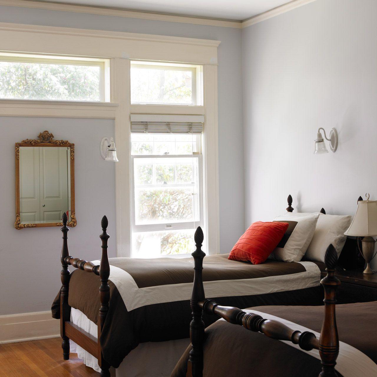 Dunn-Edwards Paints paint colors: Walls: Cold Wind DE6351; Trim: White