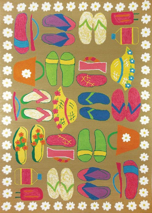 Fun Flip Flop And Beach Sandal Rug Perfect For A Kids